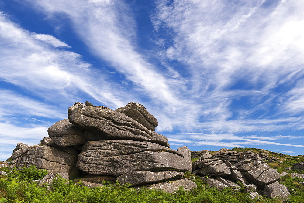 Granite outcrop near Saddle Tor in Dartmoor National Park, Devon, England, United Kingdom, Europe