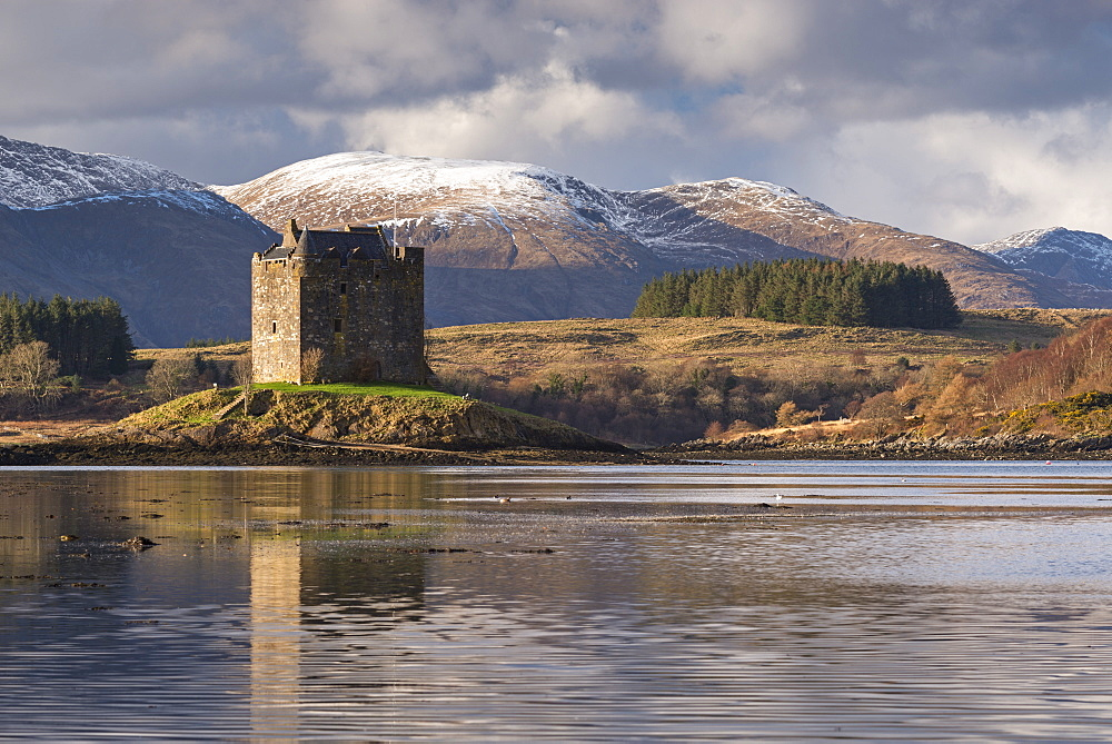 The 14th century Castle Stalker on an island in Loch Linnhe in winter, Appin, Scotland, United Kingdom, Europe - 799-3623