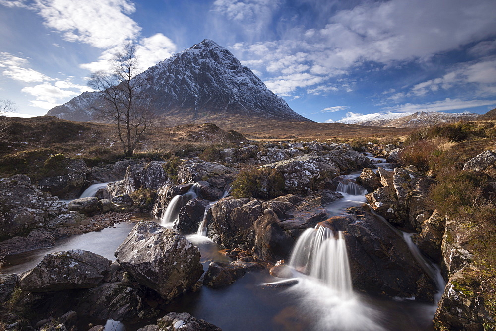 Cascades on the River Coupall with a snow dusted Buachaille Etive Mor mountain in the background, Glen Etive, Highlands, Scotland, United Kingdom, Europe - 799-3626