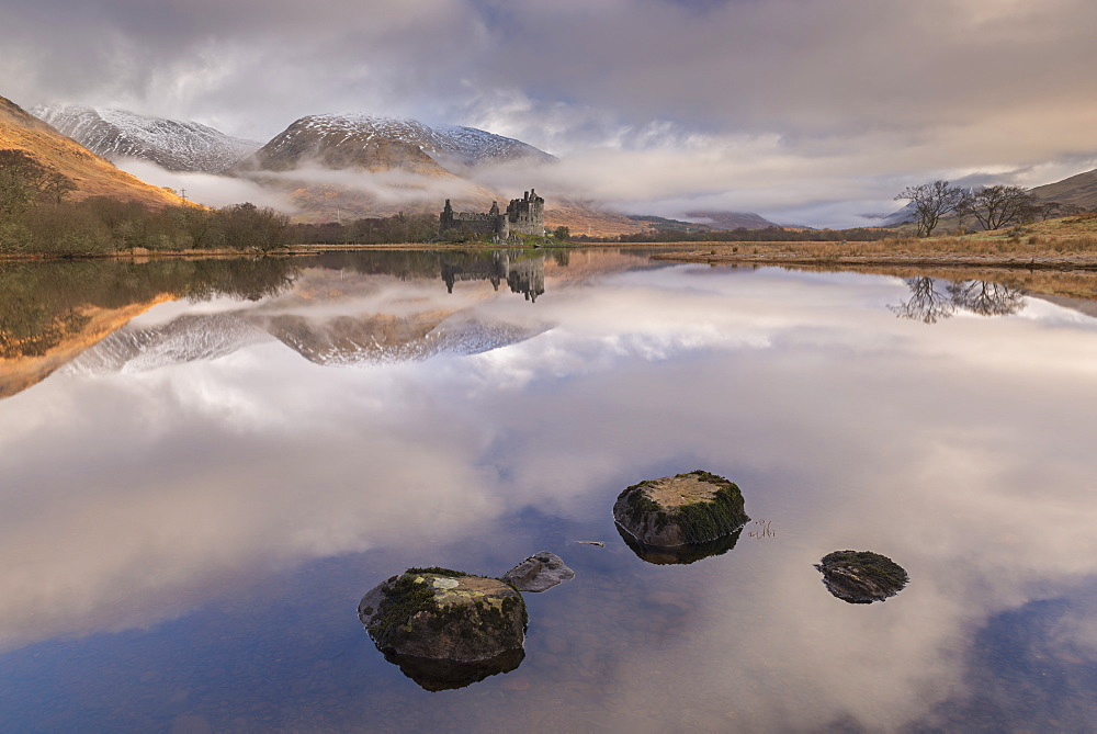 Kilchurn Castle on a reflective Loch Awe in winter, Argyll and Bute, Highlands, Scotland, United Kingdom, Europe - 799-3627