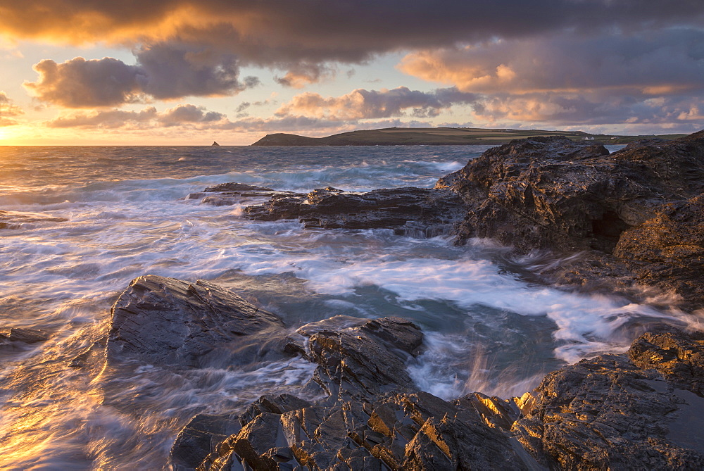 Waves crash against the rocky shores of Constantine Bay, looking towards Trevose Head, Cornwall, England, United Kingdom, Europe - 799-3633
