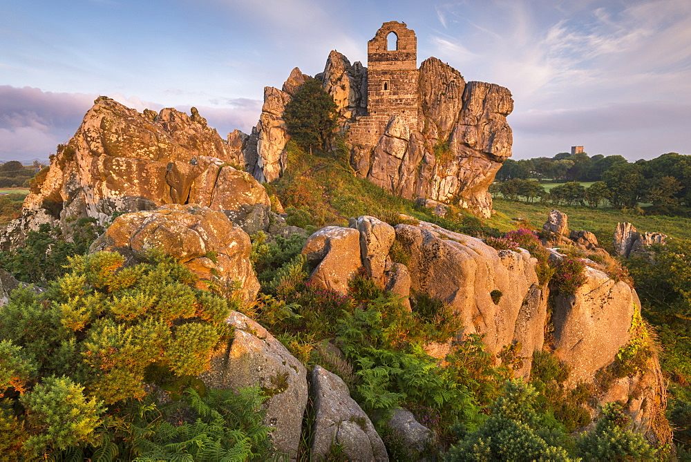 The ruins of St. Michaels Chapel on Roche Rock in the Cornish village of Roche, Cornwall, England, United Kingdom, Europe - 799-3634