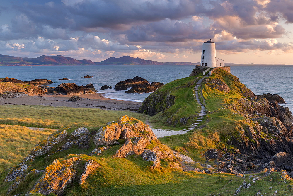Twr Mawr ligthouse on Llanddwyn Island at sunset, Anglesey, North Wales, United Kingdom, Europe - 799-3645