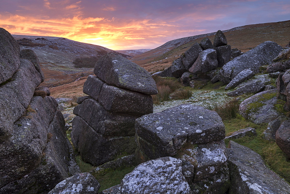 Beautiful sunrise behind a wintry Shelstone Tor in Dartmoor National Park, Devon, England, United Kingdom, Europe