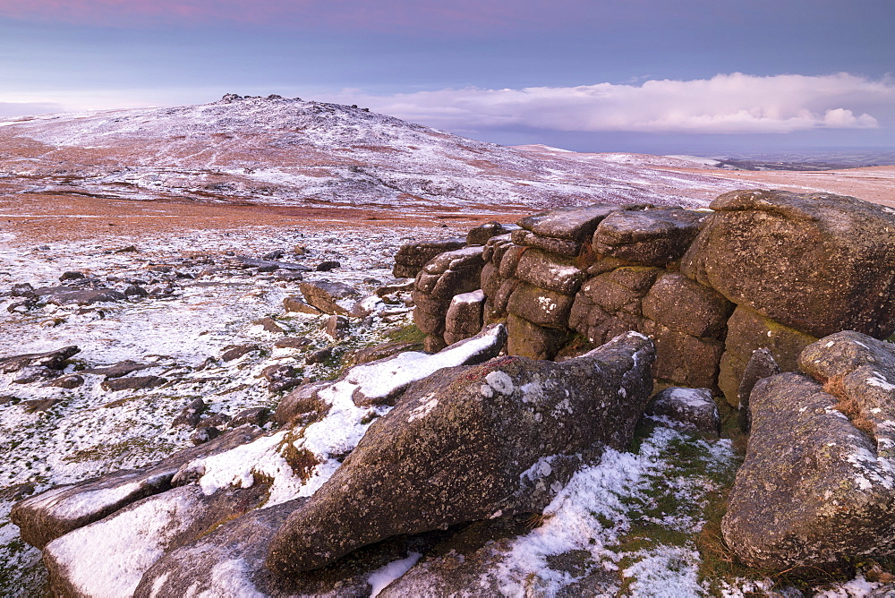 West Mill Tor from Rowtor in winter snow, Dartmoor National Park, Devon, England, United Kingdom, Europe