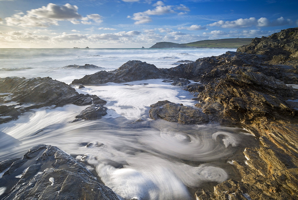 Waves swirl around the rocks of Booby's Bay near Trevose Head, Cornwall, England, United Kingdom, Europe - 799-3670