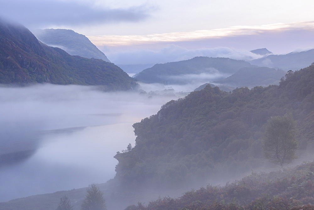 Mist shrouds Llyn Dinas at dawn in Snowdonia National Park, Wales, United Kingdom, Europe
