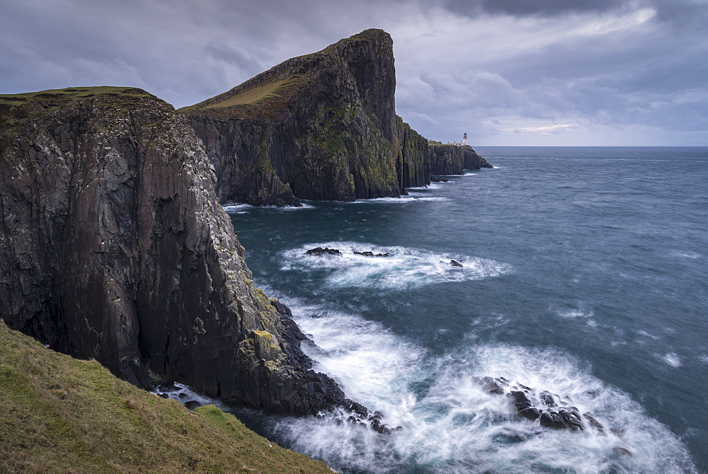Dramatic cliffs near Neist Point Lighthouse on the west coast of the Isle of Skye, Inner Hebrides, Scotland, United Kingdom, Europe - 799-3679