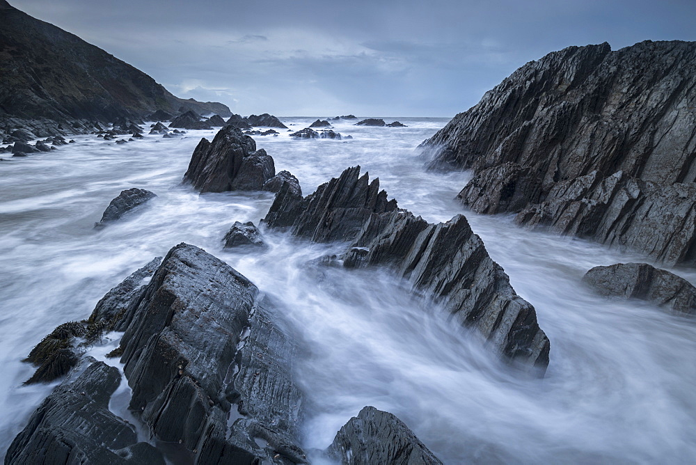 Jagged rocks on the seashore near Lee Bay in winter, North Devon, England, United Kingdom, Europe - 799-3691