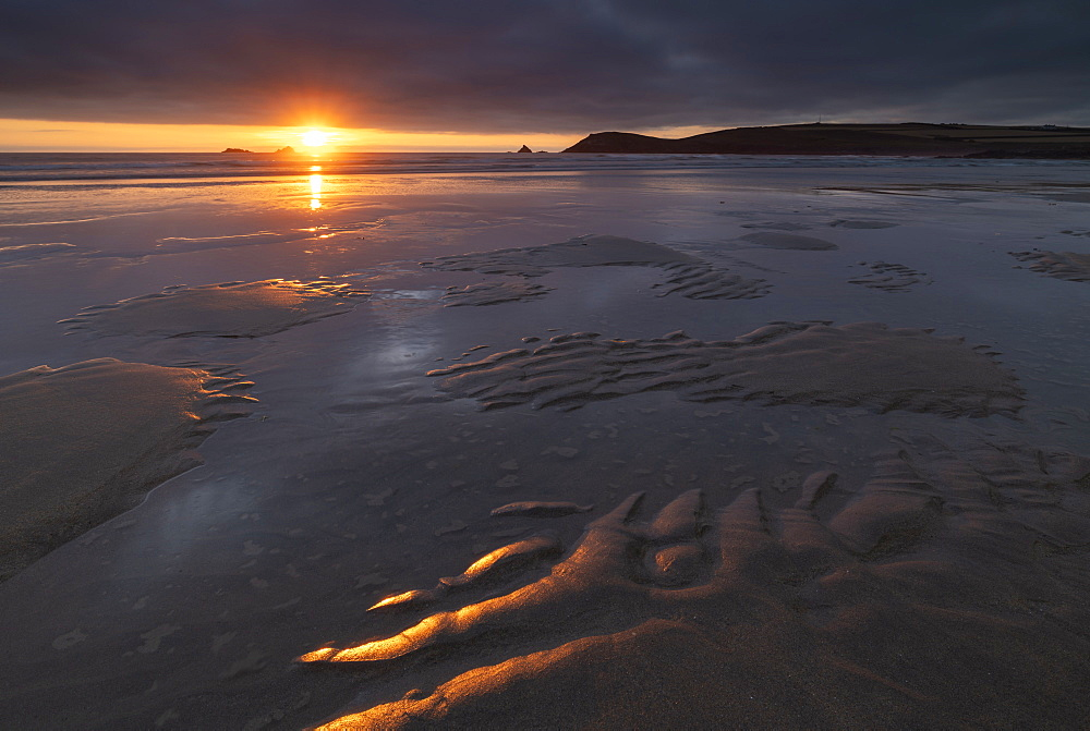 Beautiful sunset light over the beach at Constantine Bay in North Cornwall, England, United Kingdom, Europe