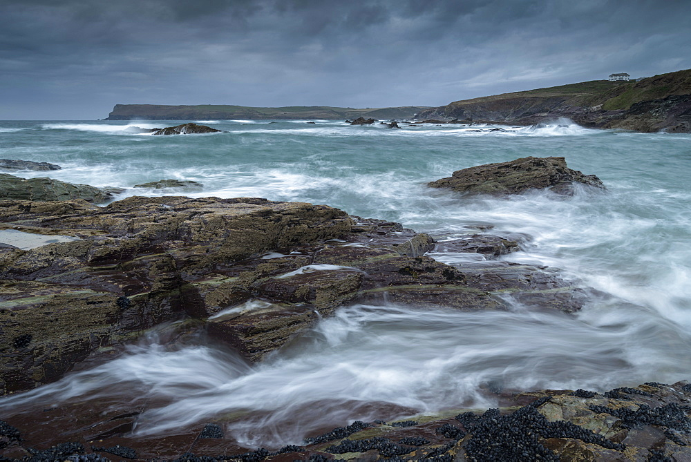 Stormy seas looking towards Pentire Point, Padstow, Cornwall, England, United Kingdom, Europe
