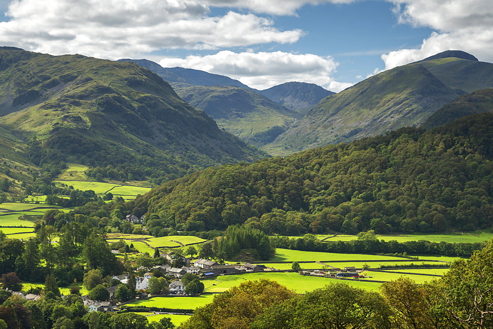 The village of Rosthwaite in the Borrowdale Valley, Lake District National Park, Cumbria, England. Autumn (September) 2018.
