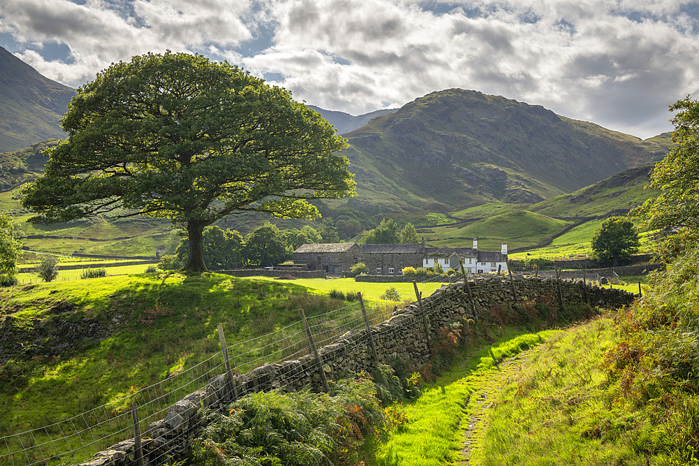 Idyllic countryside and farmhouse, Little Langdale, Lake District National Park, Cumbria, England. Autumn (September) 2018.