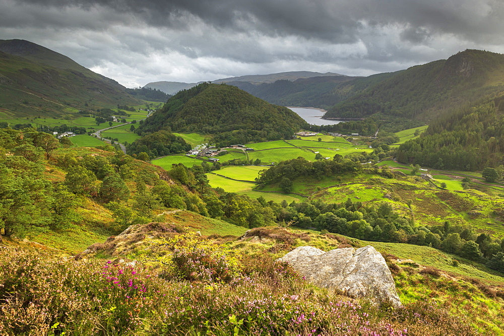 View south to Thirlmere from Wren Crag, Lake District National Park, Cumbria, England. Autumn (September) 2018.