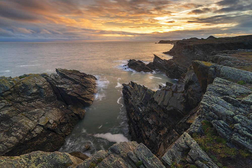 Dramatic cliffs of the Anglesey Coast, Anglesey, North Wales, United Kingdom, Europe