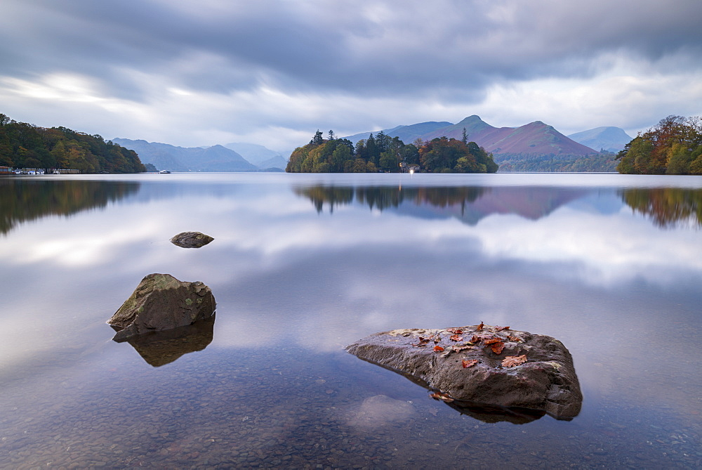 Tranquil morning at Derwent Water in the Lake District National Park, Cumbria, England. Autumn (October) 2018.