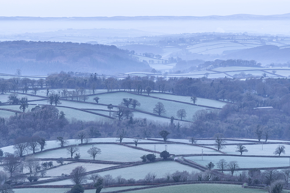 Frosty rolling countryside near Sourton, Devon, England. Winter (January) 2018.