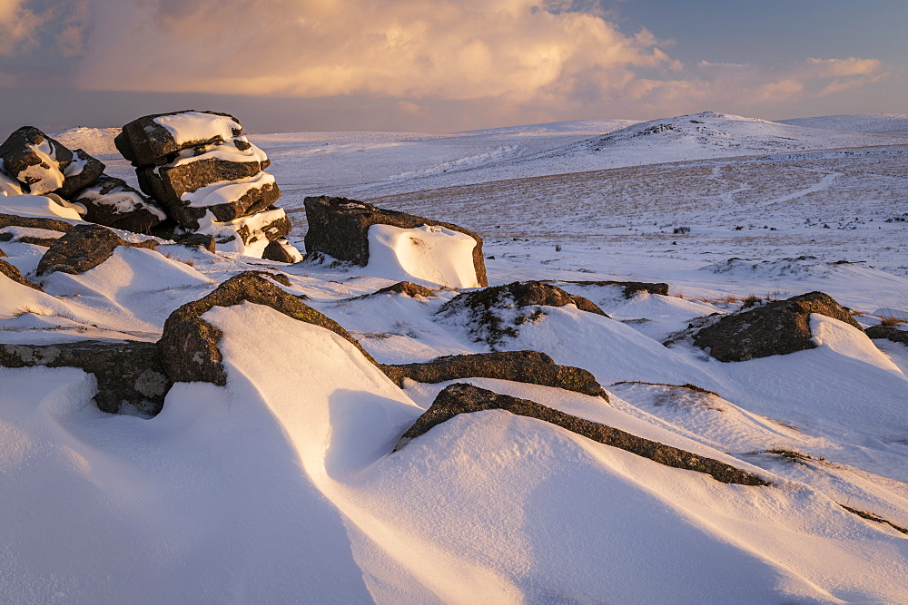 Winter snow at Rowtor, Dartmoor National Park, Devon, England, United Kingdom, Europe