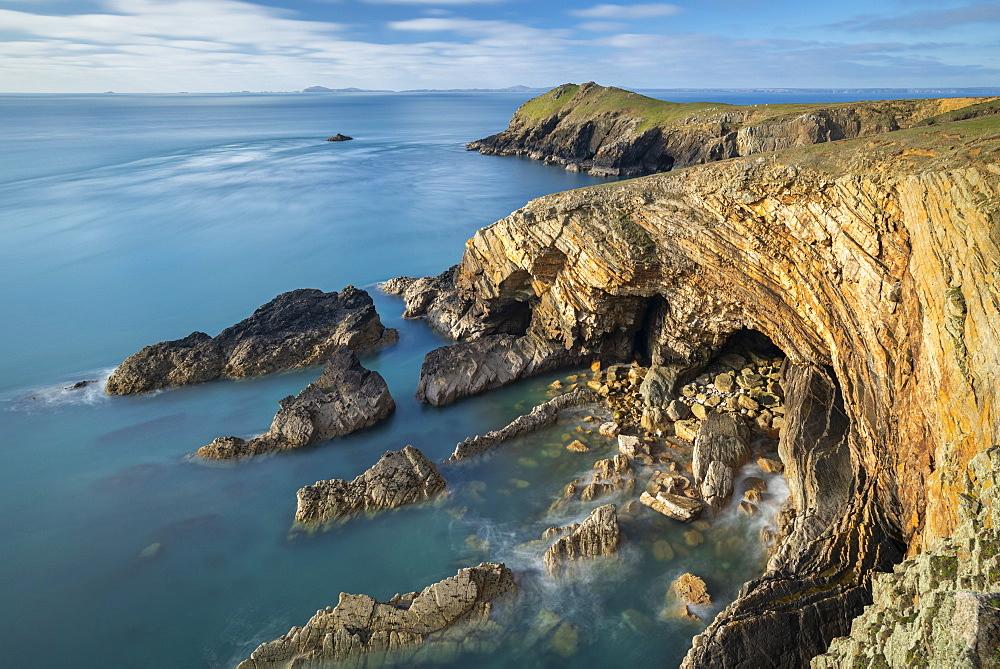 Clifftop vista from Martin's Haven, Pembrokeshire Coast National Park, Wales, United Kingdom, Europe