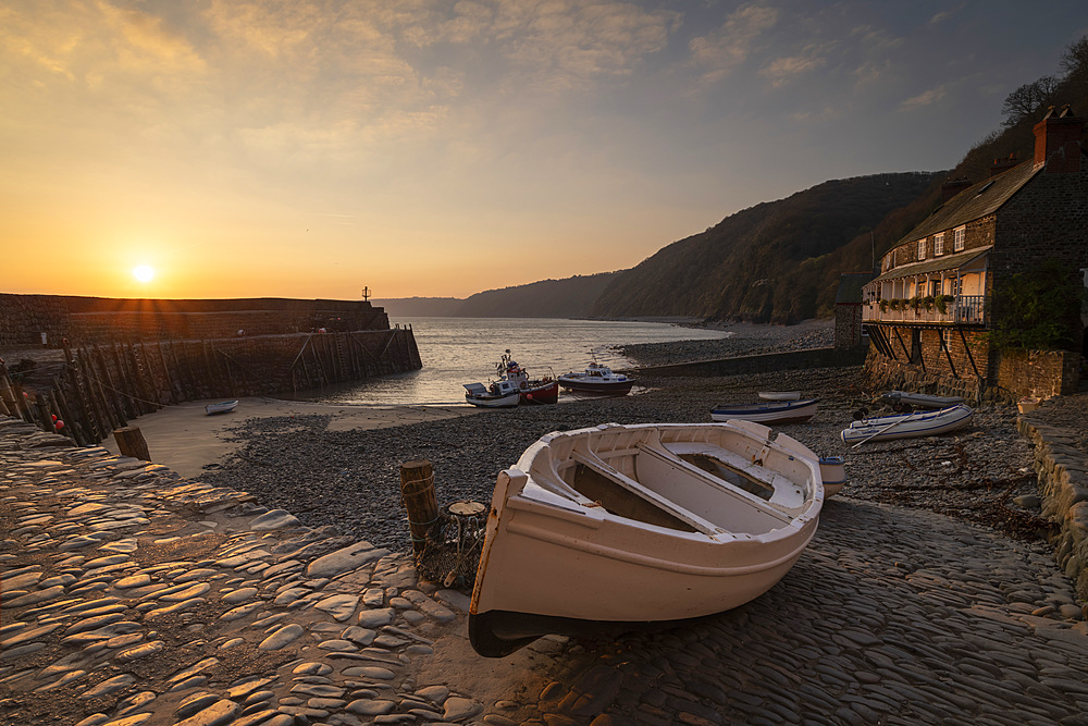 Sunrise over Clovelly Harbour, Devon, England, United Kingdom, Europe