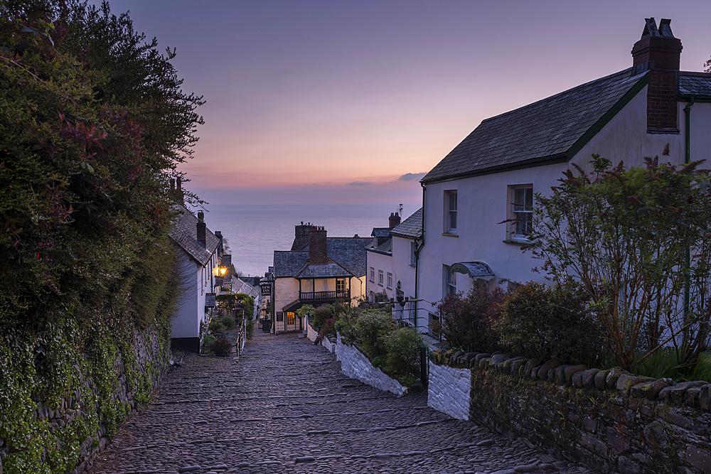 Cobbled village lane at dawn, Clovelly, Devon, England, United Kingdom, Europe