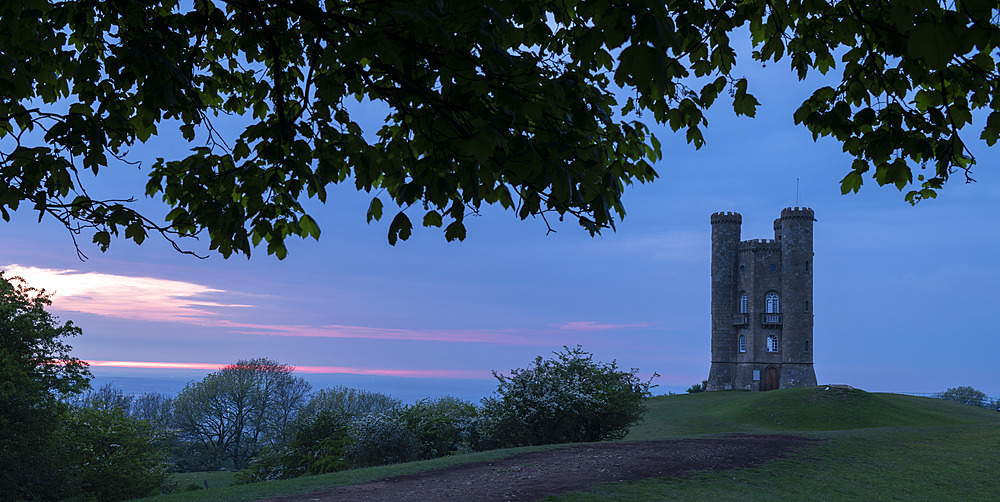 Broadway Tower in the Cotswolds at twilight, Worcestershire, England, United Kingdom, Europe