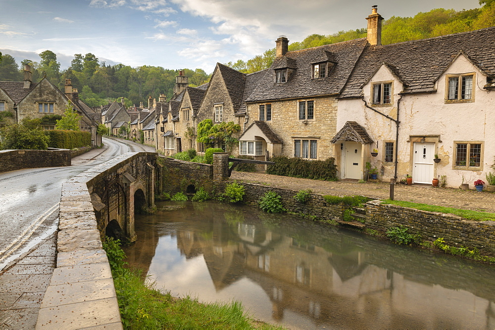 Pretty cottages in the idyllic Cotswolds village of Castle Combe, Wiltshire, England. Spring (May) 2019.