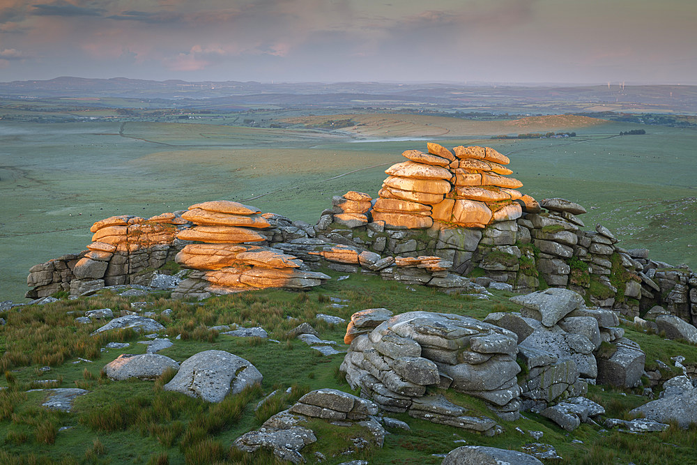 First light on Roughtor in Bodmin Moor, Cornwall, England, United Kingdom, Europe