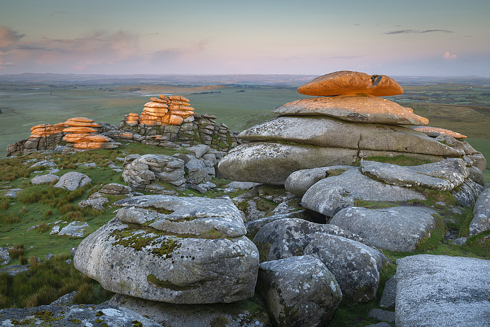 First light on Roughtor at sunrise, Bodmin Moor, Cornwall, England, United Kingdom, Europe