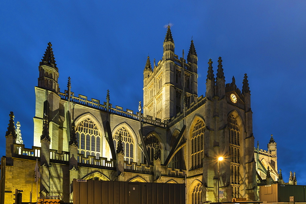 Bath Abbey illuminated at night, Bath, UNESCO World Heritage Site, Somerset, England, United Kingdom, Europe