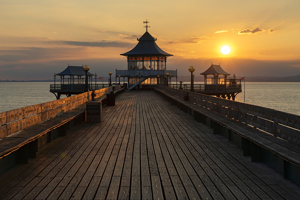 Sunset over Clevedon Pier and its pagoda, Clevedon, Somerset, England, United Kingdom, Europe