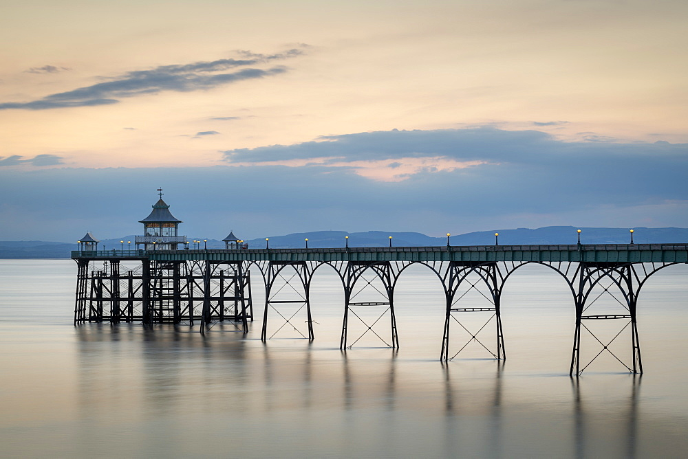 Twilight over Clevedon Pier, Clevedon, Somerset, England. Summer (July) 2019.