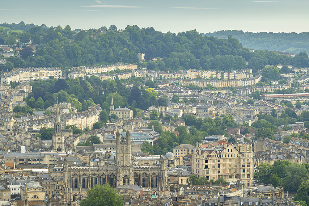 Aerial vista over Bath from Alexandra Park, Bath, Somerset, England, United Kingdom, Europe
