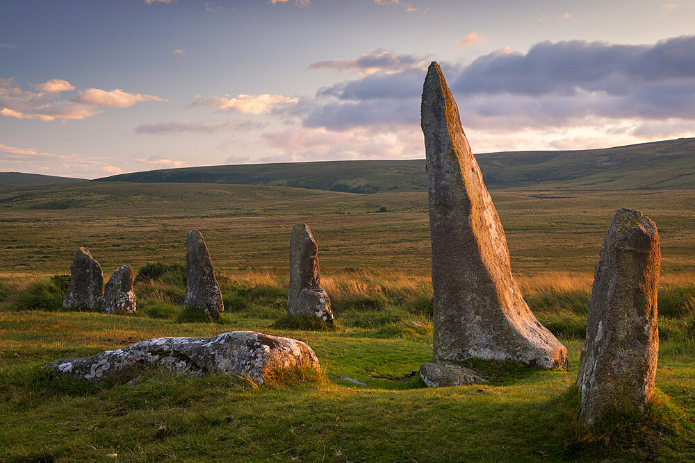 Scorhill megalithic stone circle in Dartmoor National Park, Devon, England. Summer (July) 2017.
