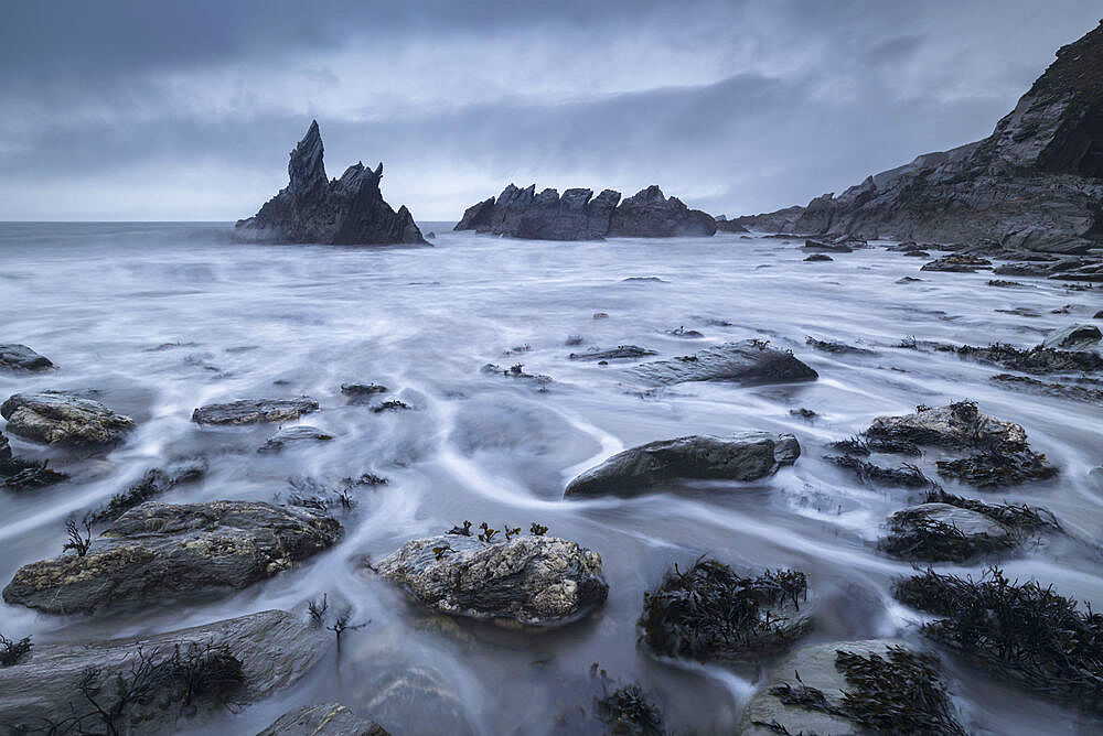 Stormy seas in winter at Westcombe in the South Hams of Devon, England, United Kingdom, Europe