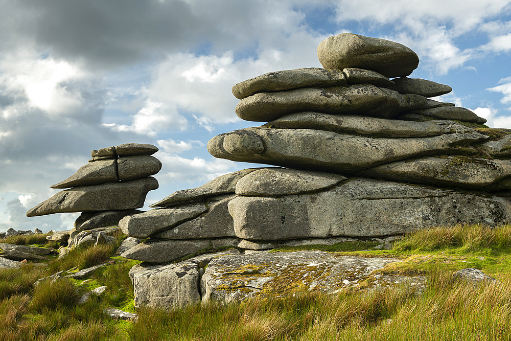 Granite outcrops on Stowes Hill in Bodmin Moor, Minions, Cornwall, England. Summer (June) 2019.