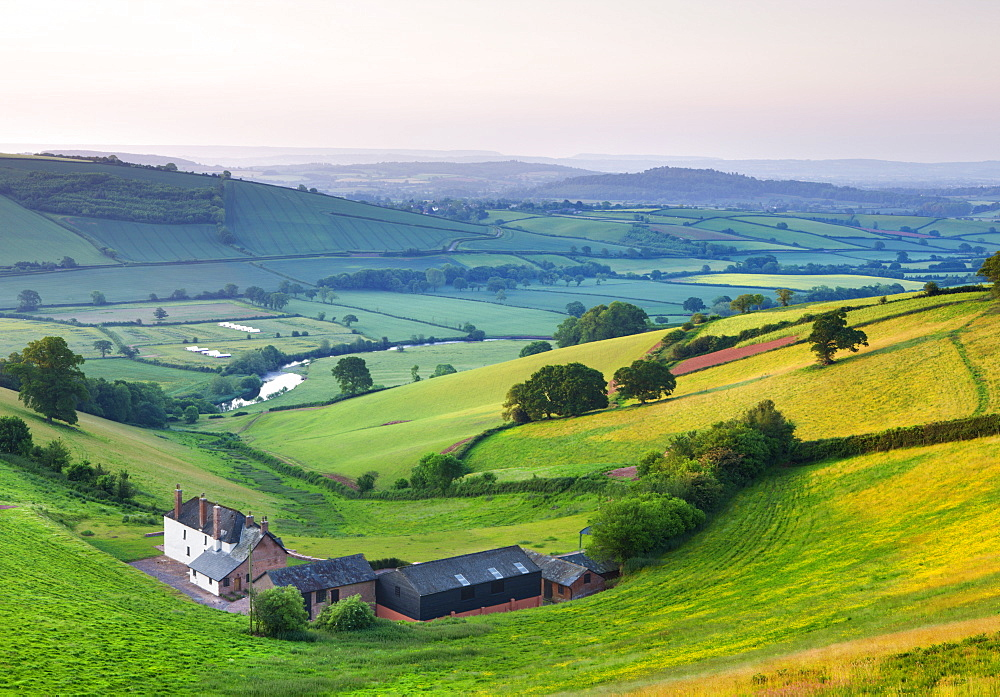Farm nestled in the Exe valley overlooking the River Exe, Devon, England, United Kingdom, Europe
