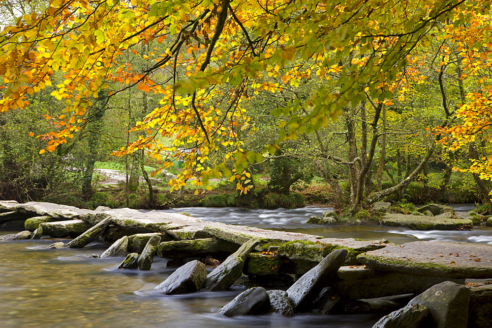 Prehistoric Clapper bridge, Tarr Steps in Exmoor National Park, Somerset, England, United Kingdom, Europe