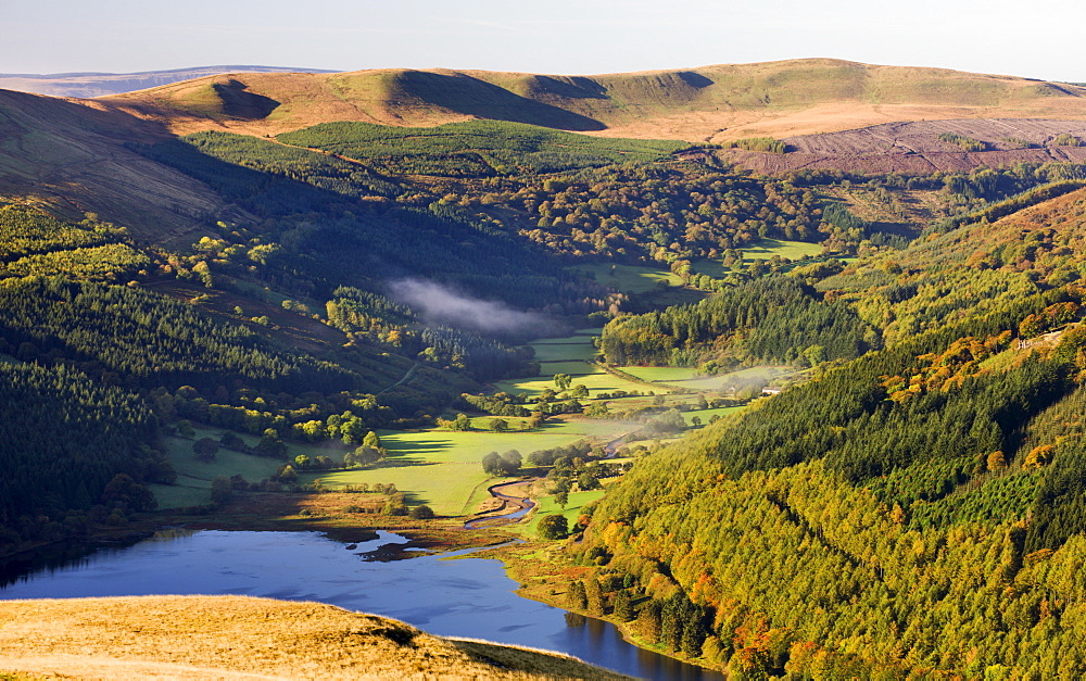 Talybont Reservoir and Glyn Collwn valley in the Brecon Beacons National Park, Powys, Wales, United Kingdom, Europe