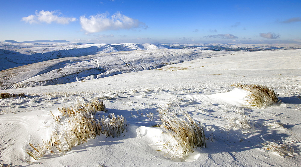 Snow scenes on the mountain slopes of Pen y Fan, Brecon Beacons National Park, Powys, Wales, United Kingdom, Europe