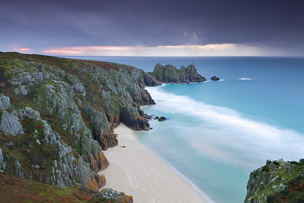 Pednvounder Beach and Logan Rock from Treen Cliff, Porthcurno, Cornwall, England, United Kingdom, Europe