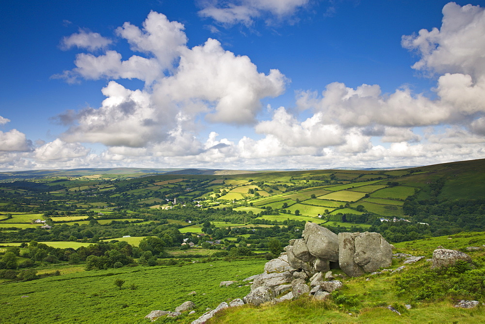 Rolling countryside around Widecombe-in-the-Moor, Dartmoor National Park, Devon, England, United Kingdom, Europe