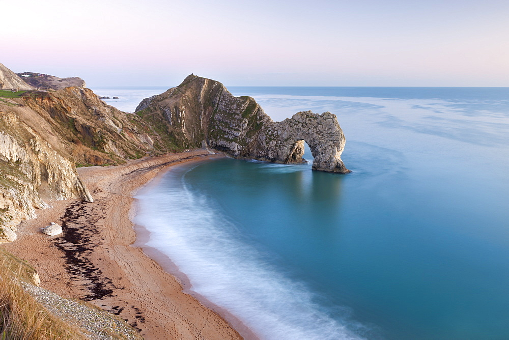 Deserted beach at twilight in winter, Durdle Door, Jurassic Coast, UNESCO World Heritage Site, Dorset, England, United Kingdom, Europe