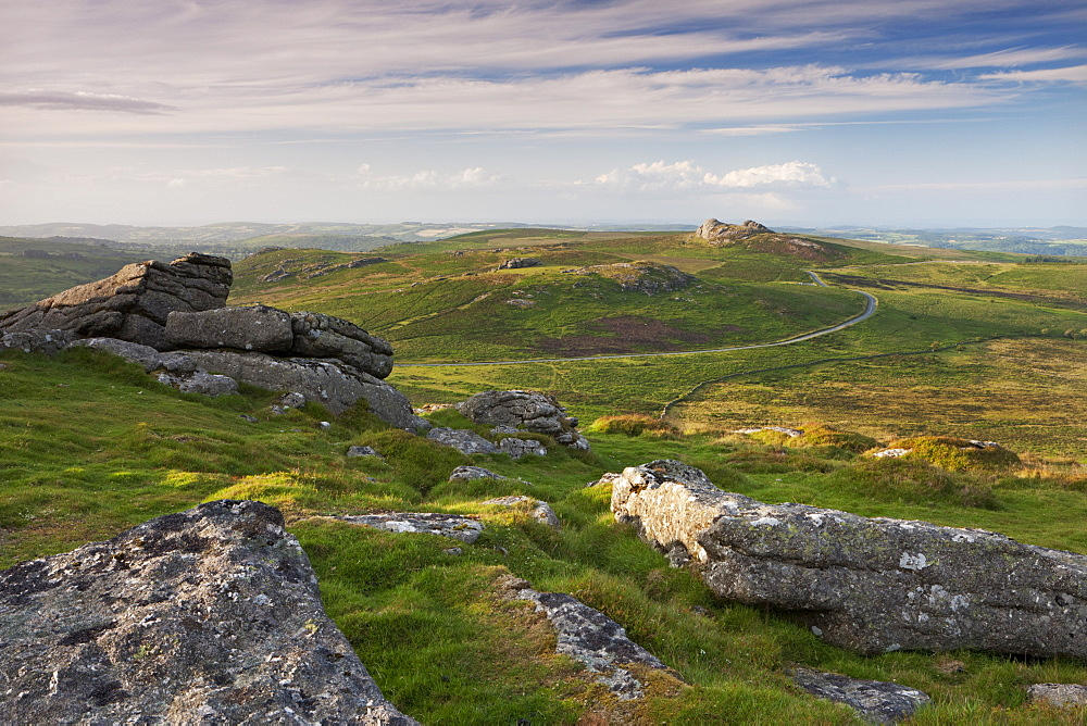 View towards Haytor and Saddle Tor from Rippon Tor, Dartmoor, Devon, England, United Kingdom, Europe