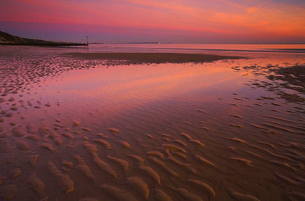 Shallow pools of water on Bournemouth Beach isolated from the receding tide, Bournemouth, Dorset, England, United Kingdom, Europe