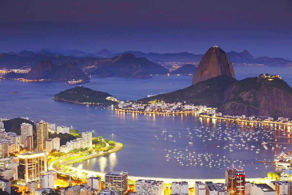 View of Sugar Loaf Mountain (Pao de Acucar) and Botafogo Bay at dusk, Rio de Janeiro, Brazil, South America  - 800-1065