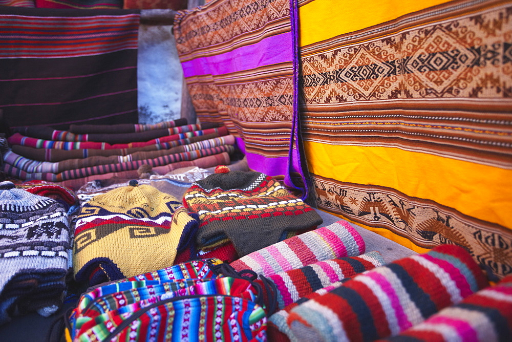 Colourful hats and blankets at market, Sucre, UNESCO World Heritage Site, Bolivia, South America
