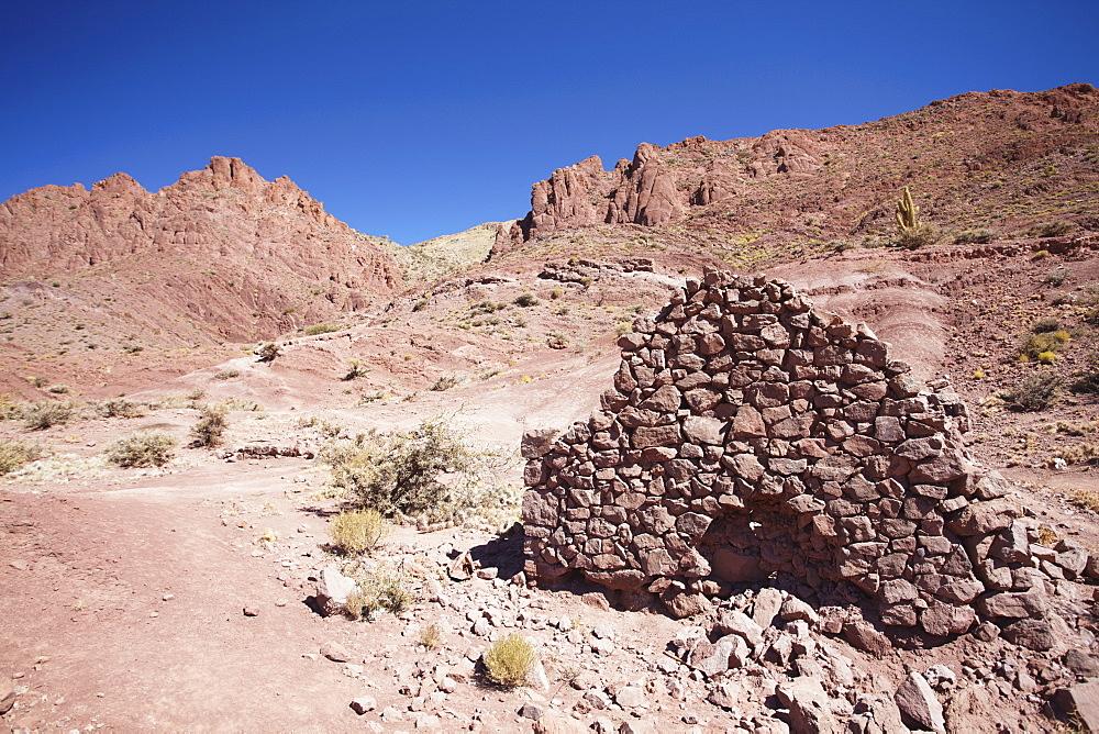 Ruins of village brick house in the Altiplano, Potosi, Bolivia, South America