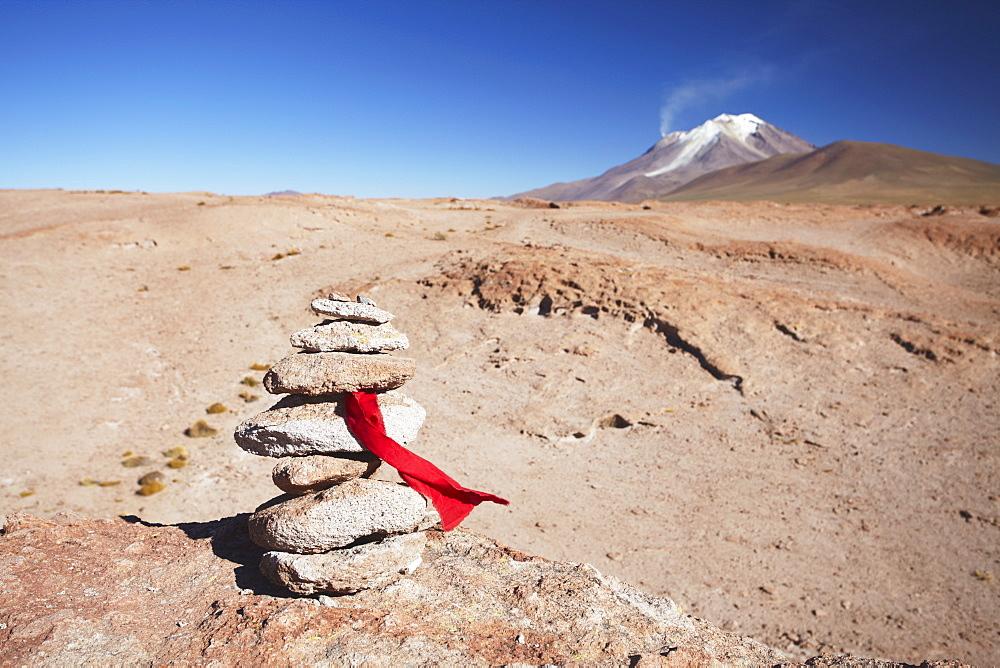Stack of prayer stones on Altiplano, Potosi Department, Bolivia, South America
