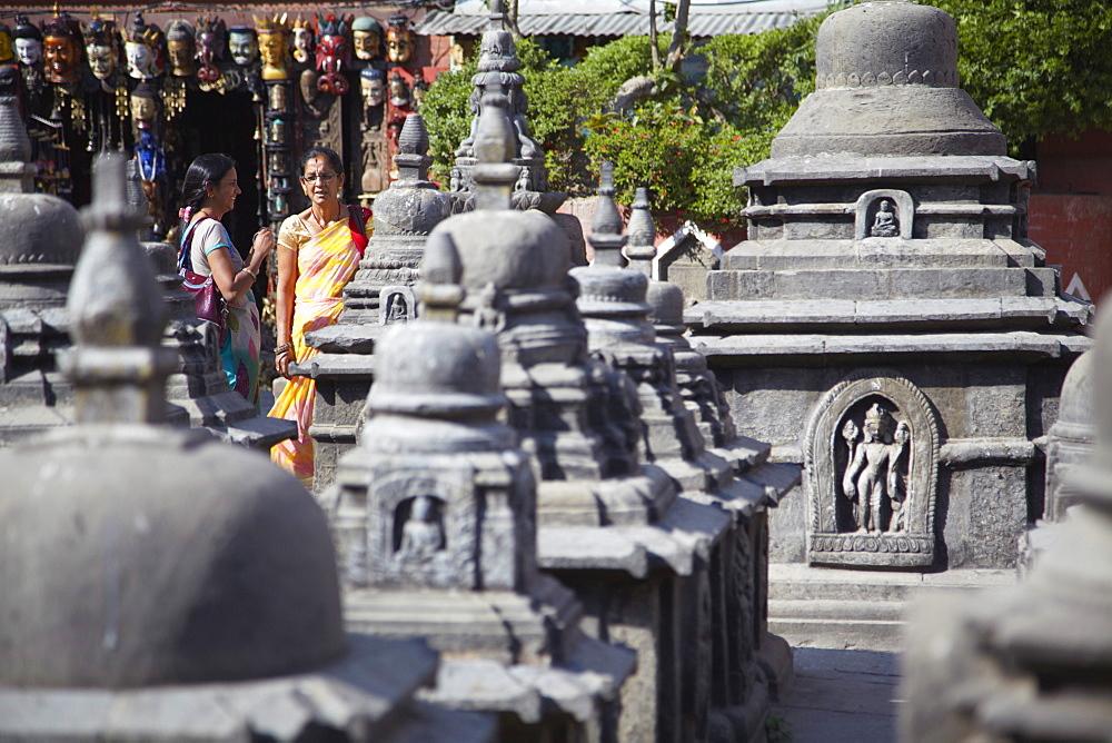 Women at Swayambhunath Stupa, UNESCO World Heritage Site, Kathmandu, Nepal, Asia